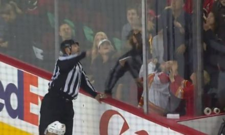 Linesman Cameron Gives Away First Goal Puck… or Not? (Updated)