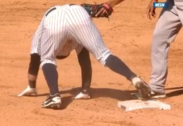 Watch that right foot... Click for video from MLB.com