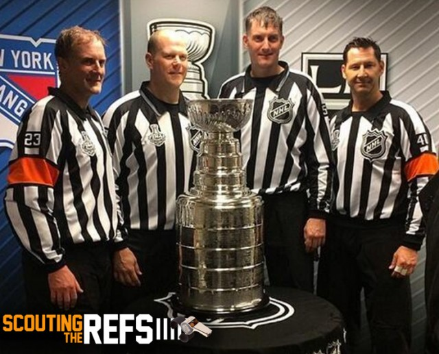 Stanley Cup Final Game 5 Officials with the Stanley Cup. From Left, referee Brad Watson, linesman Scott Driscoll, linesman Shane Heyer, and referee Steve Kozari. (Image courtesy J. Kozari)