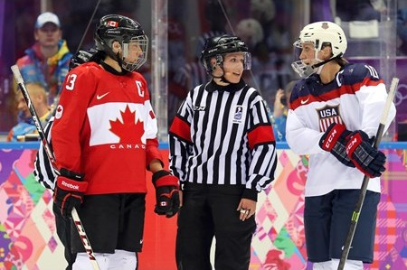 Referee Joy Johnston at the 2014 Sochi OlympicsReferee Joy Johnston at the 2014 Sochi Olympics