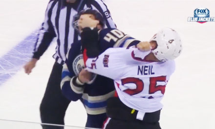 Sens Chris Neil Gets Jared Boll with the Ol' Eye Gouge