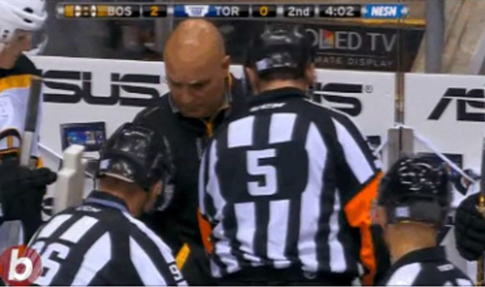 Referee Chris Rooney Injures Hand at Bruins/Leafs