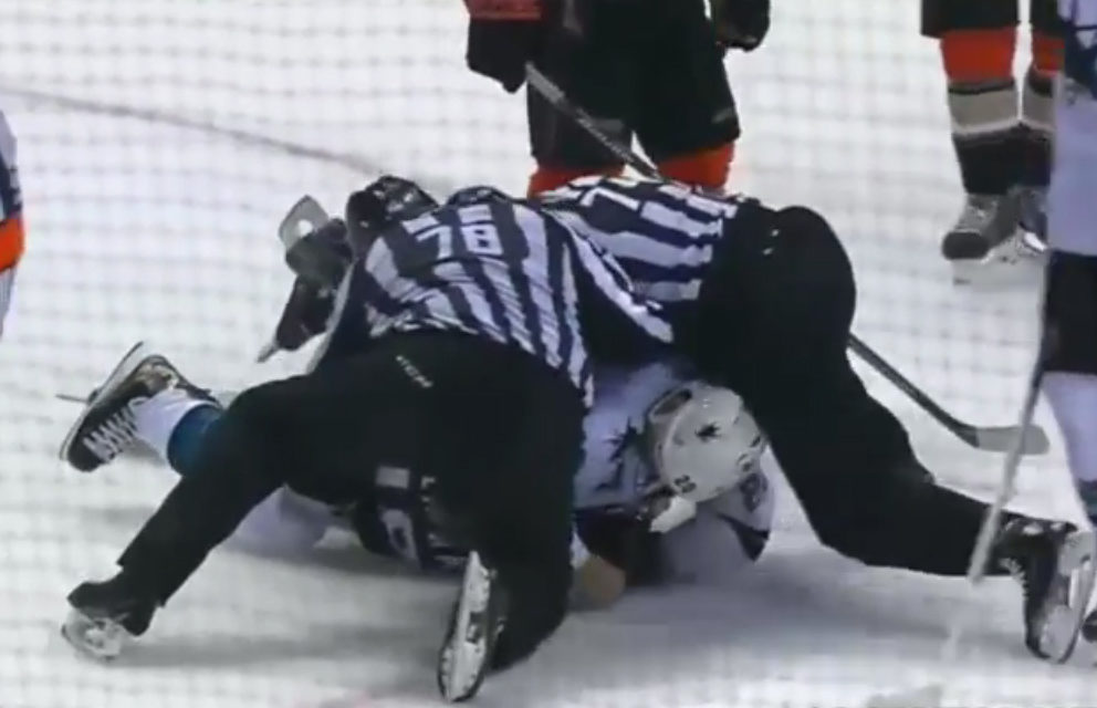 Ducks, Sharks Combine for Nine Fights, 165 PIM