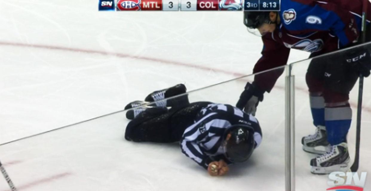 Linesman Derek Amell Injured by Slewfoot