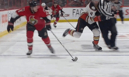 Linesman Michel Cormier Takes Out Ducks' Fowler, Sens Score