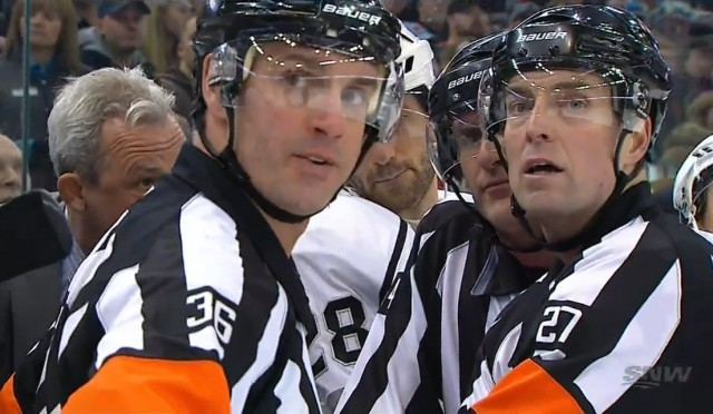 Kings' Coach Darryl Sutter Addresses Referees Dean Morton and Eric Furlatt