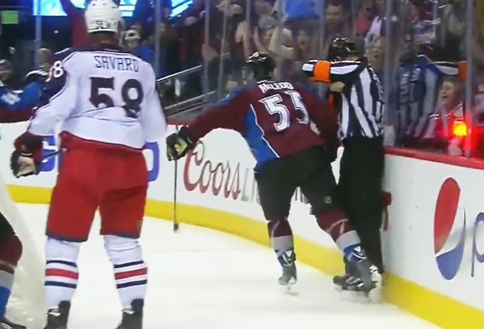 Avs' McLeod Celebrates Goal, Nearly Punches Ref