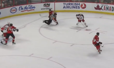 Sens' Condra Steamrolls Referee Ghislain Hebert