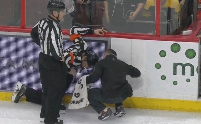 Referee Francis Charron Injured