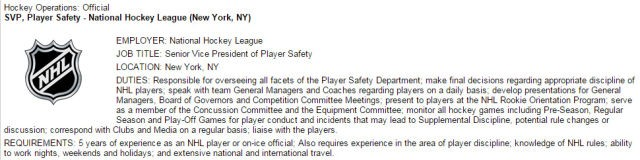 NHL SVP of Player Safety