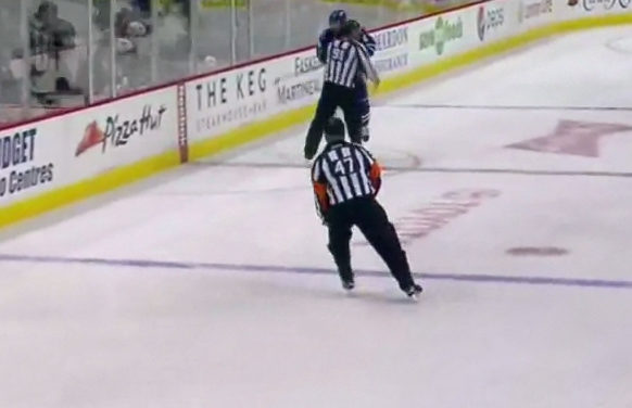 Canucks' Weber Takes Out Linesman Don Henderson