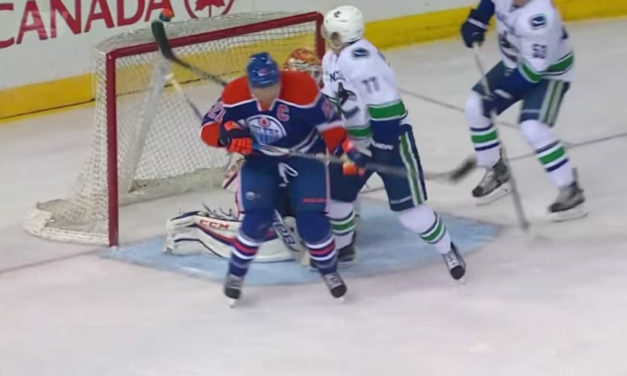 Canucks' Virtanen Scores Goal Off Face