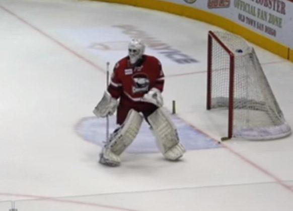 Checkers' Goaltender Stops Rush By Dislodging Net
