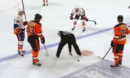 Flyers' Voracek Plays Keep-Away with Linesman Shandor Alphonso