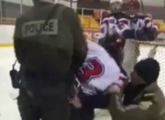Player Arrested On Ice for Spitting In Linesman's Face