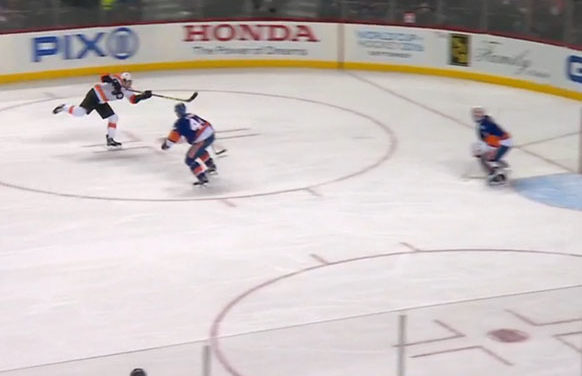 Flyers' Manning Scores First NHL Goal After Official Deflection