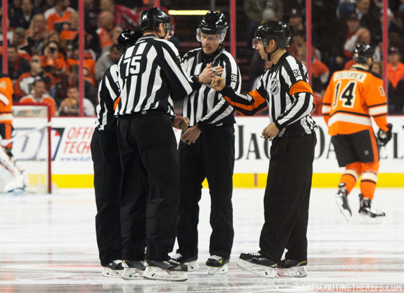 Scouting the Refs - Referees Dan O'Rourke and Ghislain Hebert, with linesmen Derek Amell and Jonny Murray, prior to a game between the Washington Capitals and Philadelphia Flyers