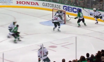 Stars' Roussel Kicks Puck Over Net, Scores Goal