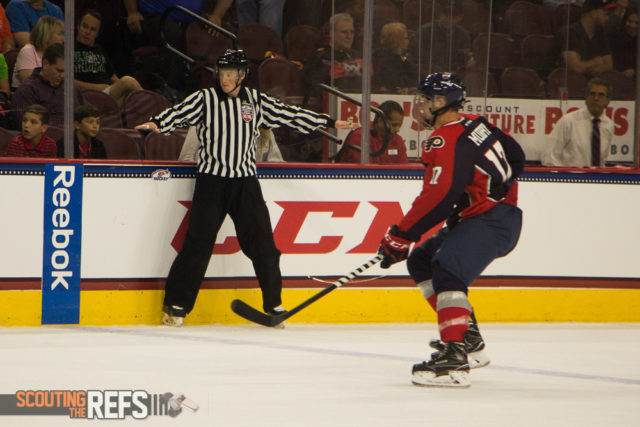 Linesman Riley Bowles watches the play at the All-American Prospects Game