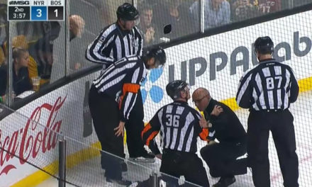 Referee Dean Morton Injured At Rangers/Bruins