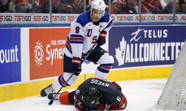 WJC: USA's Kunin Ejected for Hit on Canada's Myers