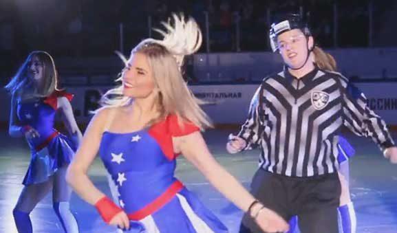 KHL Linesman Dances With Cheerleaders