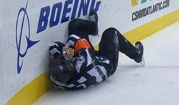 Referee Garrett Rank Injured at Devils/Sharks