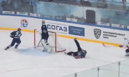 KHL Referee Falls, Ends Up In Crease