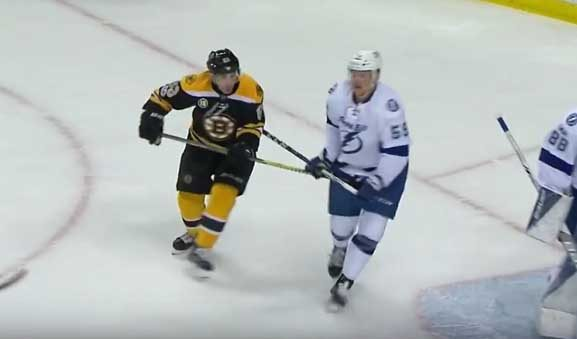 Bruins' Marchand Gets Major for Spearing Bolts' Dotchin