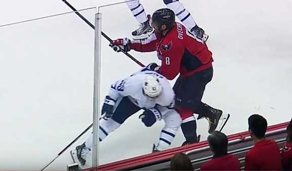 Leafs' Kadri Takes Out Caps' Ovechkin With Low Hit
