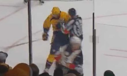 Referee Kevin Pollock Handles Hit