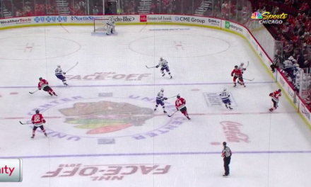 Blackhawks Score After Dump-In Hits Linesman