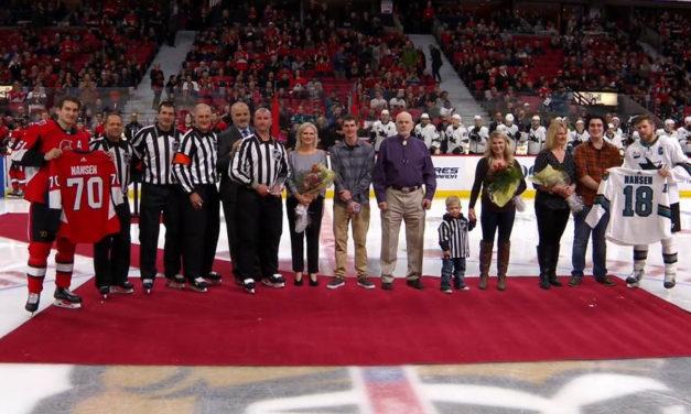 Linesman Derek Nansen Recognized for 1000 NHL Games