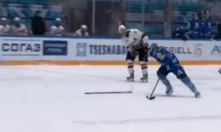 KHL Ref Awards Goal for Thrown Stick on Empty Net Breakaway