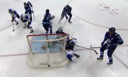 Blues Score With Net Knocked Off; Goal Stands After Review