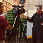 NHL Referee Tim Peel is interviewed by KSDK Sports' Frank Cusumano at Tim Peel Referee Camp 2019