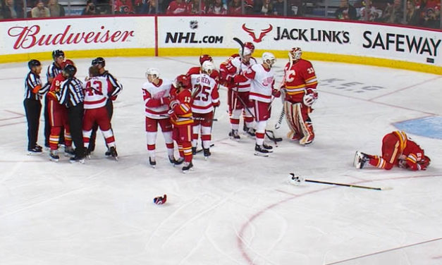 Red Wings' Helm Fined $5000 for Slashing Flames' Lindholm