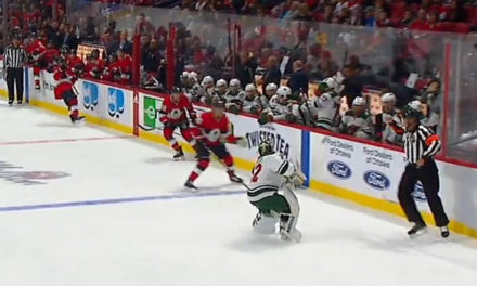 Wild's Stalock Fired Puck Into Bench, Avoids Penalty, Barely Misses Coach