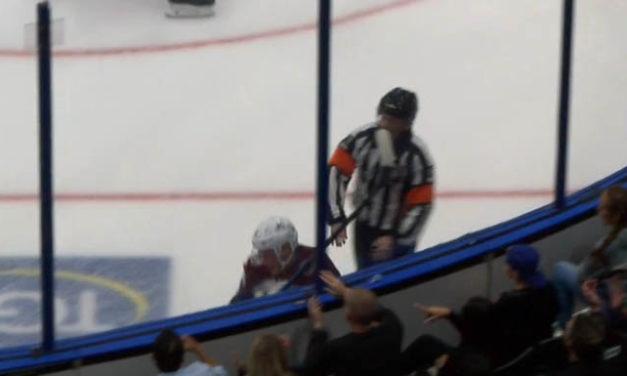 Referee Kelly Sutherland Injured By High Stick at Avs/Lightning