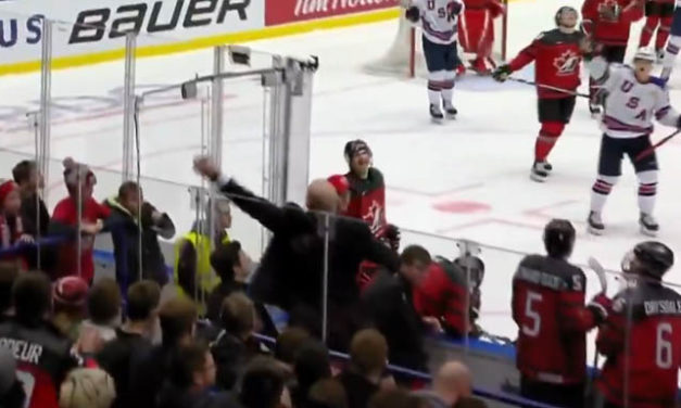Canadian World Juniors Coach Bare-Hands Puck to Prevent Puck-Over-Glass Penalty vs. USA
