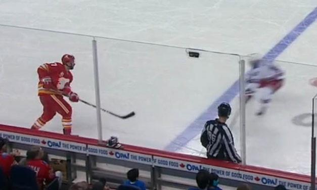 Flames' Brodie Yells at Linesman, Linesman Yells Back