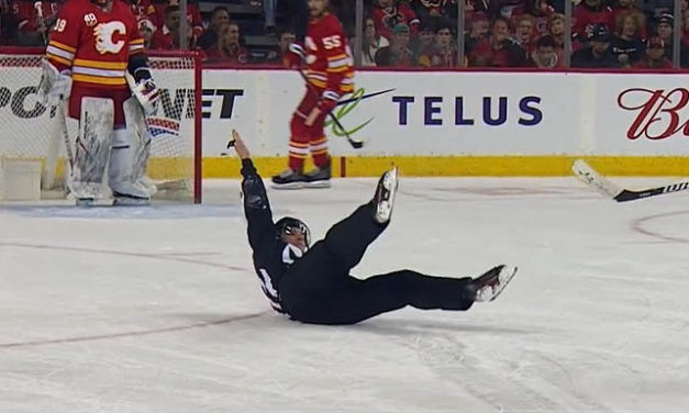 Linesman Steve Barton Makes Call After Falling to Ice