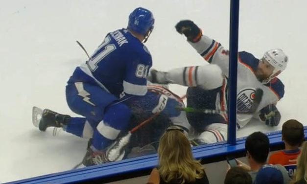 Oilers' Kassian Suspended Seven Games for Kicking Bolts' Cernak