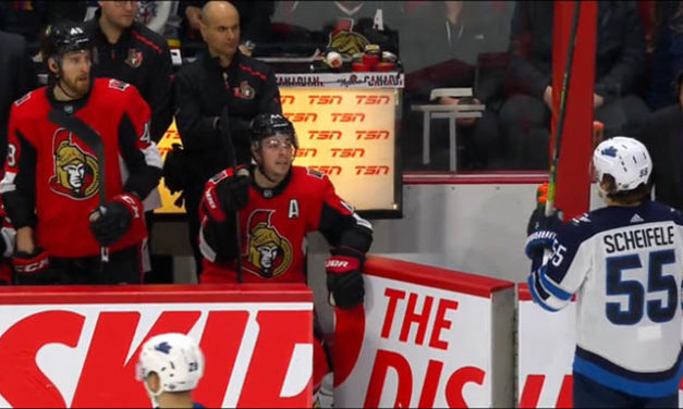 Sens' Sabourin Gets Misconduct, $1,881 Fine for Squirting Water Bottle at Jets' Scheifele