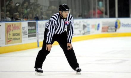 Linesman Luke Murray Working Final AHL Game