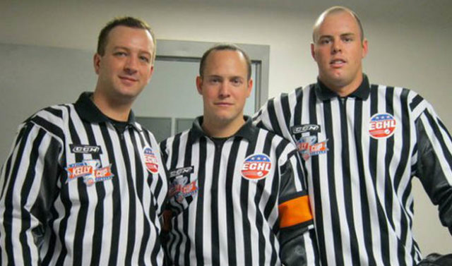 Linesman Ray King, left, with current NHL officials Graham Skilliter and Matt MacPherson (Submitted photo)