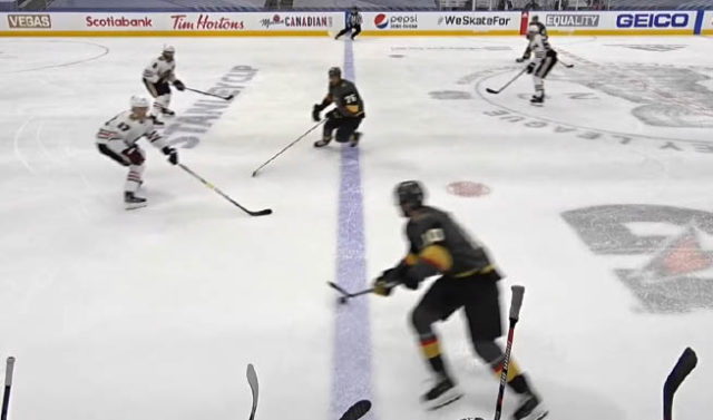 Chicago Blackhawks challenge Vegas Golden Knights Goal for Offside