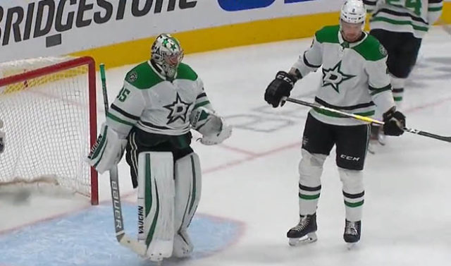 Dallas Stars Goaltender Anton Khudobin Forced to Change Stick Tape Color by Referees