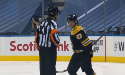 Bruins' Krug Ejected for Shooting Puck at Linesman