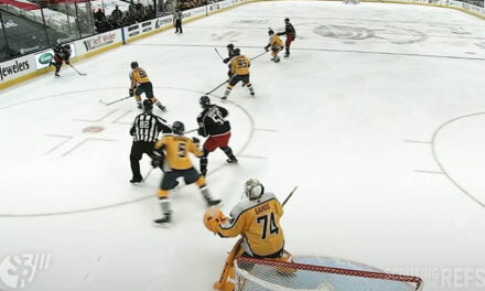 Linesman Screens Preds' Goaltender on Blue Jackets' Goal